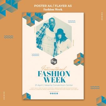 Modelo de folheto da semana da moda