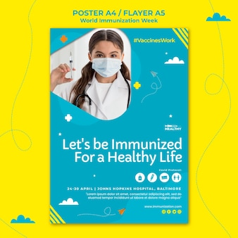 Modelo de folheto da semana mundial de imunização