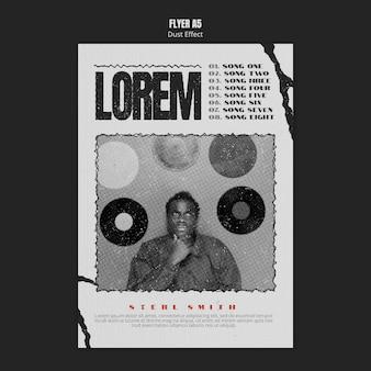 Modelo de folheto de álbum de música com efeito de poeira