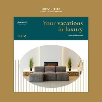 Modelo de folheto de aluguel de férias de luxo