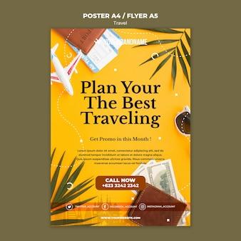 Modelo de folheto de anúncio de agência de viagens