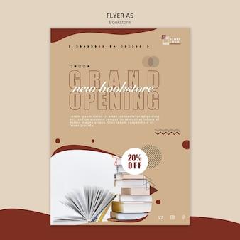 Modelo de folheto de anúncio de livraria