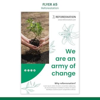 Modelo de folheto de anúncio de reflorestamento