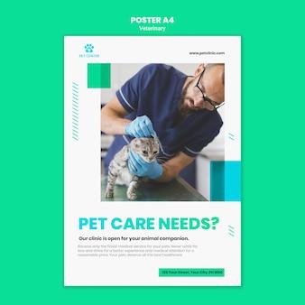 Modelo de folheto de anúncio veterinário