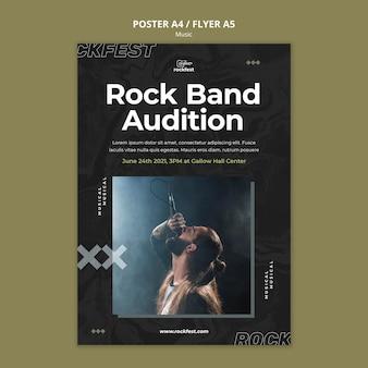 Modelo de folheto de audição de banda de rock
