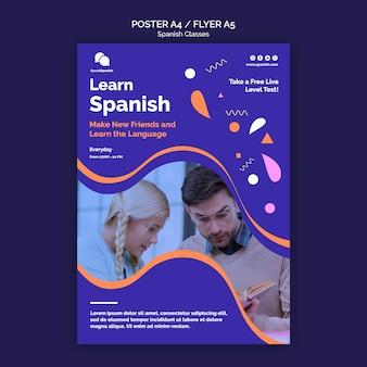 Modelo de folheto de aulas de espanhol