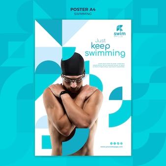 Modelo de folheto de aulas de natação