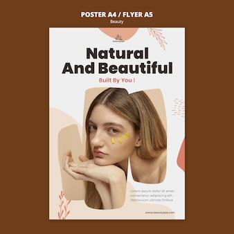 Modelo de folheto de beleza e natural