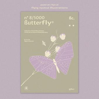 Modelo de folheto de borboleta mística voadora