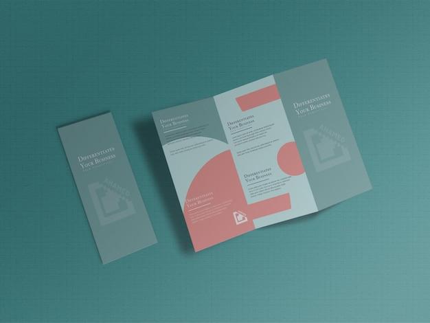 Modelo de folheto de branding com três dobras