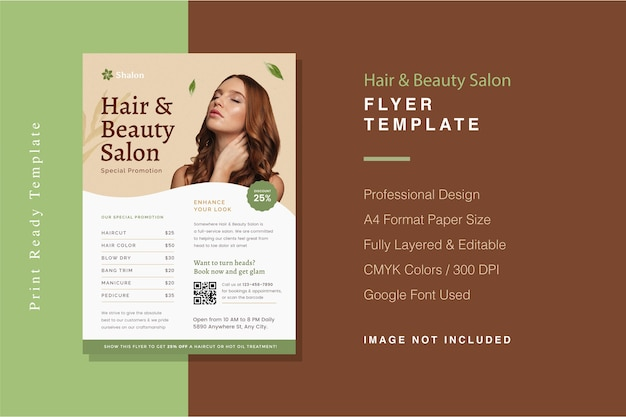 Modelo de folheto de cabeleireiro e salão de beleza Psd Premium
