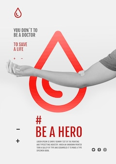 Modelo de folheto de campanha de doação de sangue