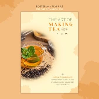 Modelo de folheto de casa de chá