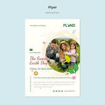 Modelo de folheto de celebração do dia da mãe terra