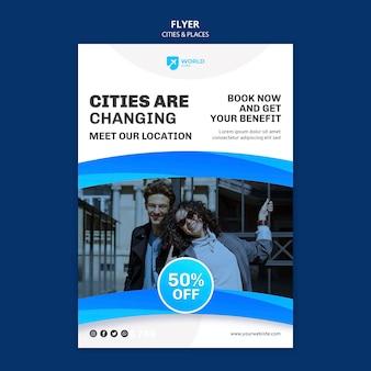 Modelo de folheto de cidades e lugares