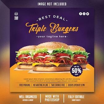 Modelo de folheto de comida com tema de hambúrguer