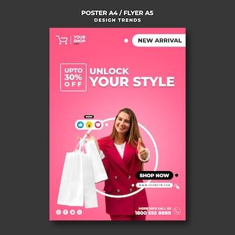 Modelo de folheto de compras de mulher