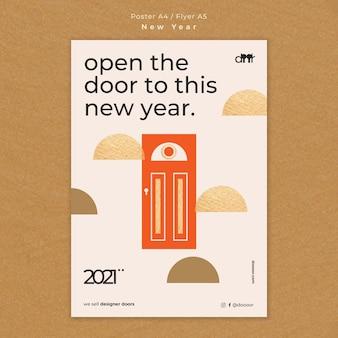 Modelo de folheto de conceito de ano novo