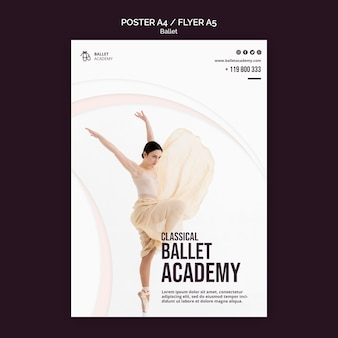 Modelo de folheto de conceito de balé
