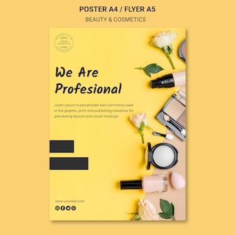 Modelo de folheto de conceito de beleza e cosméticos