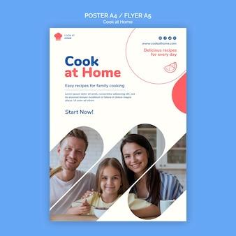 Modelo de folheto de conceito de cozinhar em casa