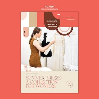 Modelo de folheto de conceito de designer de moda