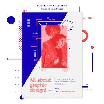 Modelo de folheto de conceito de escola de design gráfico