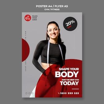 Modelo de folheto de conceito de fitness