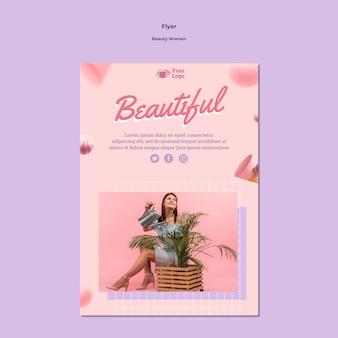 Modelo de folheto de conceito de mulher bonita