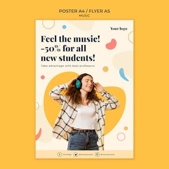 Modelo de folheto de conceito de música