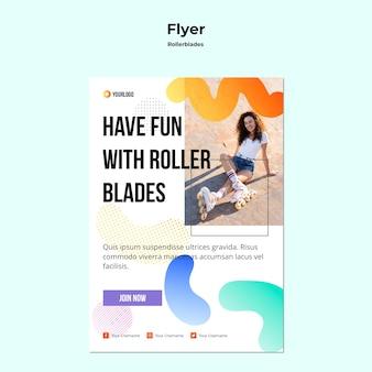 Modelo de folheto de conceito de patins