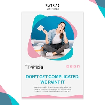 Modelo de folheto de conceito de pintura de casa
