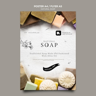 Modelo de folheto de conceito de sabonete natural