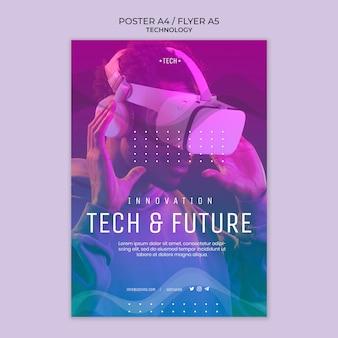 Modelo de folheto de conceito de tecnologia