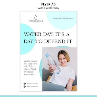 Modelo de folheto de conceito do dia mundial da água