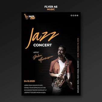 Modelo de folheto de concerto de jazz