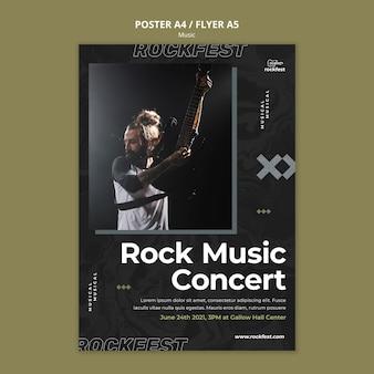 Modelo de folheto de concerto de música rock