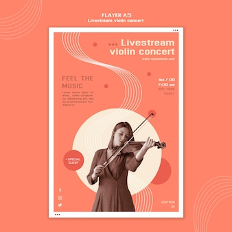Modelo de folheto de concerto de violino com transmissão ao vivo