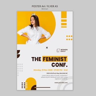 Modelo de folheto de conferência de feminismo
