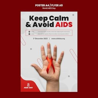 Modelo de folheto de conscientização do dia mundial da aids