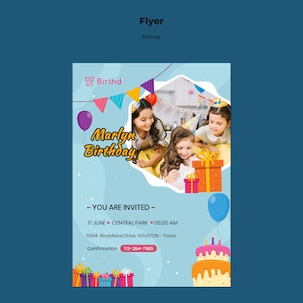 Modelo de folheto de convite de aniversário