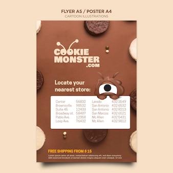 Modelo de folheto de cookies com ilustrações de desenhos animados