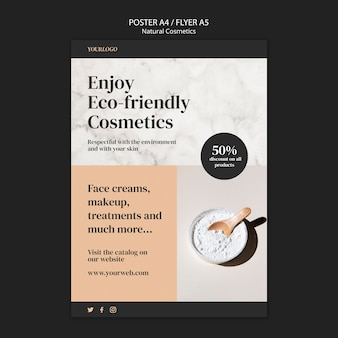 Modelo de folheto de cosméticos naturais