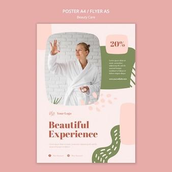 Modelo de folheto de cuidados de beleza