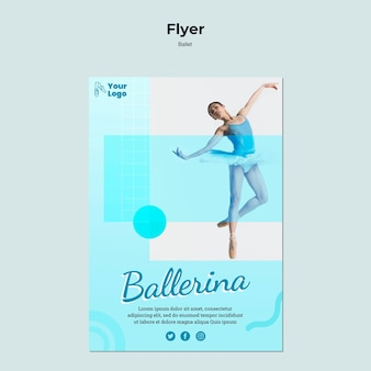 Modelo de folheto de dançarina de balé
