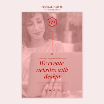 Modelo de folheto de design de estúdio web
