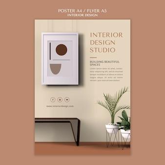 Modelo de folheto de design de interiores
