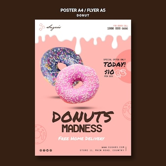 Modelo de folheto de donuts loucura