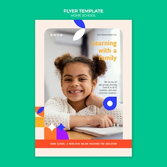Modelo de folheto de educação em casa