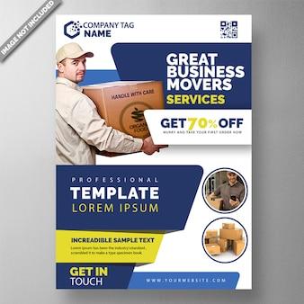 Modelo de folheto de entrega de pacote